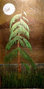 Landscapes Glass Art Originals - Moonlit Cedar  by Rick Silas