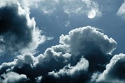 Moonlit Night Photo Metal Prints - Moonlit Clouds Metal Print by Detlev Van Ravenswaay
