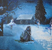 Snowscape Painting Posters - Moonlit Dream Poster by Julia Ranson