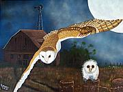 Windmill Paintings - Moonlit Flight by Debbie LaFrance