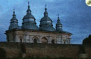 Evenings Prints - Moonlit Monastery Print by Jeff Kolker