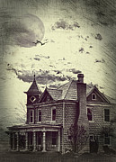 Brick House Posters - Moonlit Night Poster by Kathy Jennings