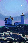 Nubble Lighthouse Painting Metal Prints - Moonlit Nubble Metal Print by Earl Jackson