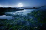 Cornwall Digital Art Prints - Moonlit Ocean Print by  Jaroslaw Grudzinski