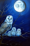 Barn Owls Prints - Moonlit owlets Print by Julianna Wells