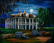 Cajun Posters - Moonlit Plantation Poster by Elaine Hodges