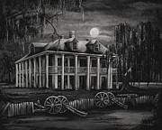 Southern Plantation Paintings - Moonlit Plantation in Black and White by Elaine Hodges