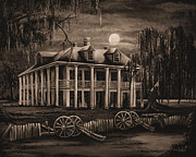 Cajun Paintings - Moonlit Plantation in Sepia by Elaine Hodges