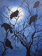 Crows Greeting Cards Prints - Moonlit Roost Print by Leslie Manley