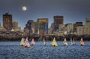 Charles River Digital Art Prints - Moonlit Sailing Print by Jose Vazquez