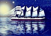 Smudgeart Framed Prints - Moonlit Sails Framed Print by Madeline  Allen - SmudgeArt
