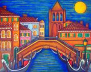 San Barnaba Framed Prints - Moonlit San Barnaba Framed Print by Lisa  Lorenz