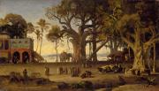 Vernacular Architecture Painting Prints - Moonlit Scene of Indian Figures and Elephants among Banyan Trees Print by Johann Zoffany
