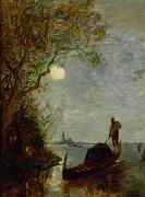 Gondolier Painting Prints - Moonlit Scene with Gondola Print by Felix Ziem