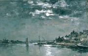 Grey Clouds Painting Posters - Moonlit Seascape Poster by Eugene Louis Boudin