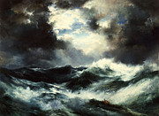 Ship Rough Sea Framed Prints - Moonlit Shipwreck at Sea Framed Print by Thomas Moran