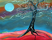 Silver Moonlight Painting Framed Prints - Moonlit Tree Framed Print by Jennifer Wade
