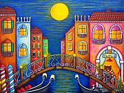 Trattoria Framed Prints - Moonlit Venice Framed Print by Lisa  Lorenz