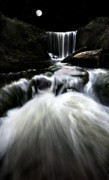 Environment Photo Framed Prints - Moonlit Waterfall Framed Print by Meirion Matthias