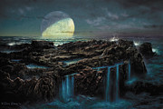 Early Painting Prints - Moonrise 4 Billion BCE Print by Don Dixon