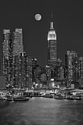 Full Moon Posters - Moonrise along the Empire State Building BW  Poster by Susan Candelario