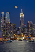 Moonlit Art - Moonrise along the Empire State Building by Susan Candelario