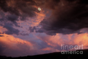 Stormy Skies Acrylic Prints - Moonrise and Sunset Acrylic Print by Sandra Bronstein