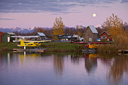 Airplane Photos - Moonrise at Lake Hood by Tim Grams