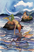 Sea Dragon Paintings - Moonrise at Mermaid Rock by Cori Caputo