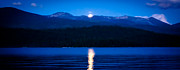 Skys Prints - Moonrise at Priest Lake Print by David Patterson