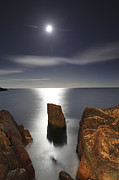 Sea Moon Full Moon Prints - Moonrise Atlantic Ocean Print by Scott Leslie