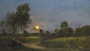 Figures Painting Prints - Moonrise Print by Charles Francois Daubigny