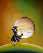 Illustrative Metal Prints - Moonrise Metal Print by Cindy Thornton
