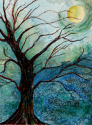 Maine Artist Paintings - Moonrise In The Wild Night by Brenda Owen