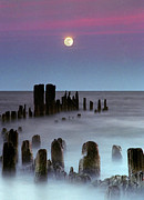 Wooden Post Framed Prints - Moonrise Framed Print by James Jordan Photography