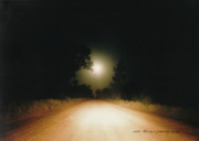 Gravel Road Posters - Moonrise On Melrose Poster by Vicki Ferrari