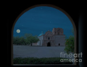 Southwest Church Prints - Moonrise on Tumacacori Mission Print by Sandra Bronstein