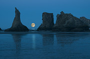 Stack Rock Posters - Moonrise Over Bandon Beach, Oregon Poster by Russell Burden