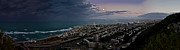Storm Photos - Moonrise Over Haifa Bay by Nadya Ost