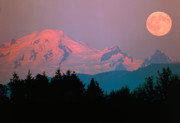 Snowfall Originals - Moonrise over mountain by David Nunuk