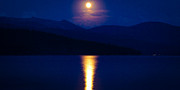 Mountains And Lake Prints - Moonrise over Priest Lake Print by David Patterson