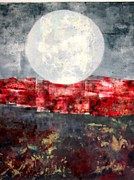 Moonscape Mixed Media Framed Prints - Moonrise Over Red Framed Print by J L Carothers
