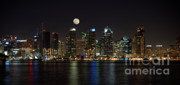 City Lights Posters - Moonrise over San Diego Poster by Sandra Bronstein