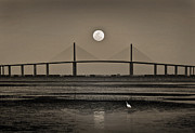 Tampa Bay Prints - Moonrise Over Skyway Bridge Print by Steven Sparks