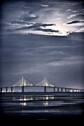 St Petersburg Florida Framed Prints - Moonrise Over Sunshine Skyway Bridge Framed Print by Steven Sparks