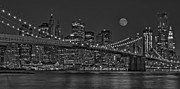 Architectural Structures Posters - Moonrise Over The Brooklyn Bridge BW Poster by Susan Candelario