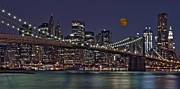 Night-scape Posters - Moonrise Over The Brooklyn Bridge Poster by Susan Candelario