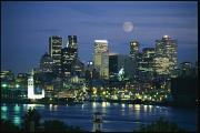 Skylines Posters - Moonrise Over The Montreal Skyline Poster by Richard Nowitz