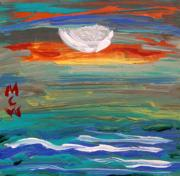 Primitive Drawings - Moonrise Over the Sea by Mary Carol Williams