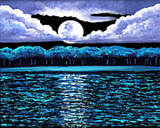 Khan Studio Glass Art Metal Prints - Moonrise Over Wingaersheek II Metal Print by EJ Lefavour